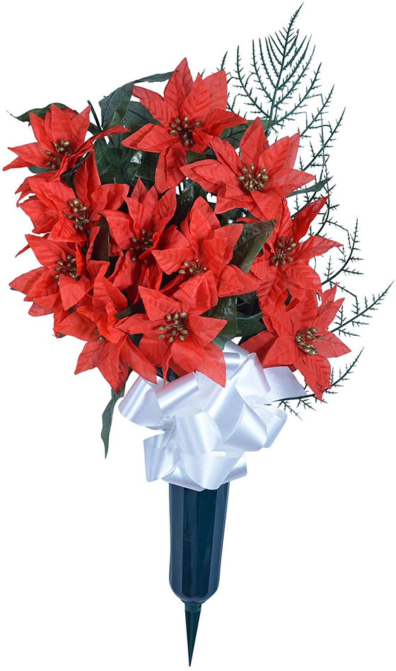 TenWaterloo 24 Inch High Memorial Red Christmas Poinsettia Arrangement with Vase and White Bow, Artificial Floral- Red, Gold and Green