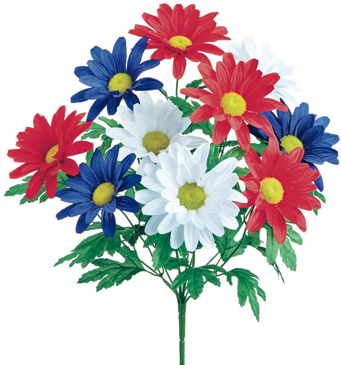 Set of 12 Artificial Red, White and Blue Shasta Daisy Bushes 18.5 Inches High