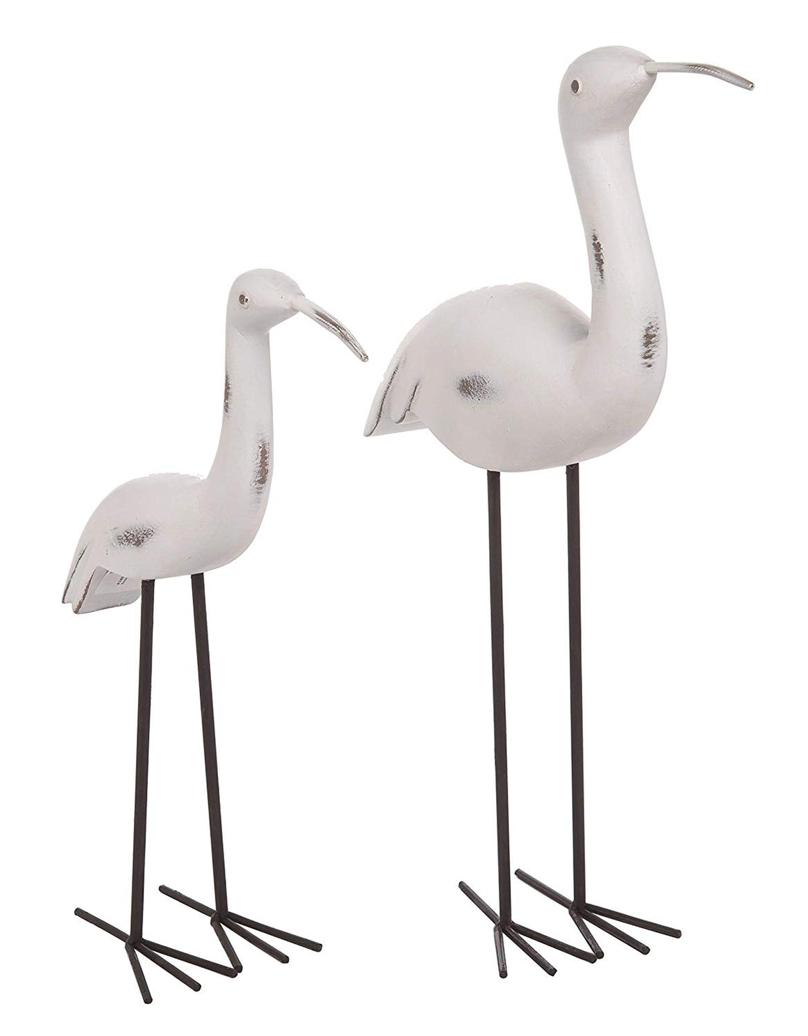 Transpac Sandpiper Bird Statues Set of 2-12 Inches and 16 Inches High, White, Black