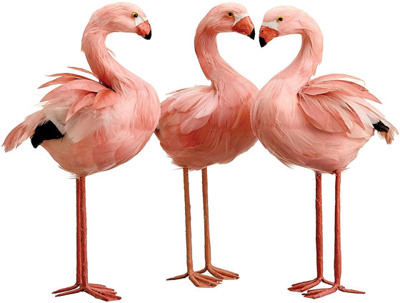 TenWaterloo Set of 3 Pink Flamingo Birds 11 Inch, Real Feathers, Pink Flamingo Statue, Flamingo Decor