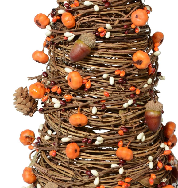 24 Inch High Fall and Thanksgiving Pumpkin Cone Tree for Tabletop Decor, Twisted Vine with Pumpkins, Pine Cones and Berries