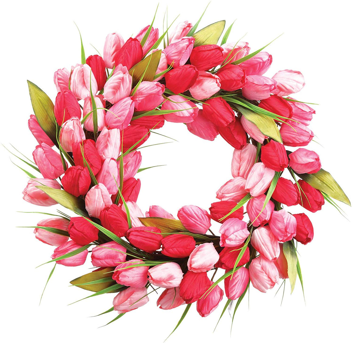 Allstate 18 Inch Artificial Tulip Wreath in Pink, Rose and Red on a Hand Tied Twig Base, Spring and Summer Front Door Wreath