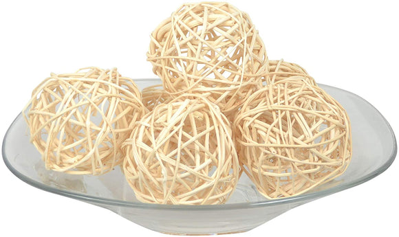 Set of 6 Natural Vine Balls 3.5 Inches Diameter, Bowl and Vase Filler, Open Weave Design