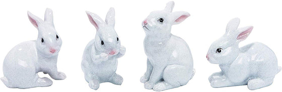 TII Set of 4 Ceramic White Rabbits in White Speckle Glazed Finish, 3 to 4 Inches High, Easter Bunny Decor