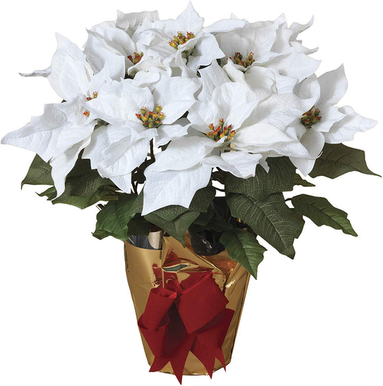 TenWaterloo 21 Inch High Potted White Poinsettia Plant - Artificial Christmas Poinsettia Plant in Gold Foil Wrap with Red Bow