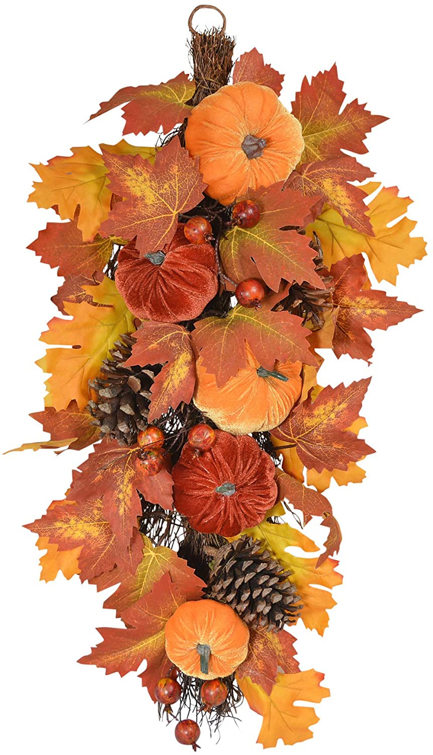 TenWaterloo 26 Inch Fall Harvest Teardrop Swag with Velvet Pumpkins, Faux Berries and Natural Pine Cones on a Twig Base