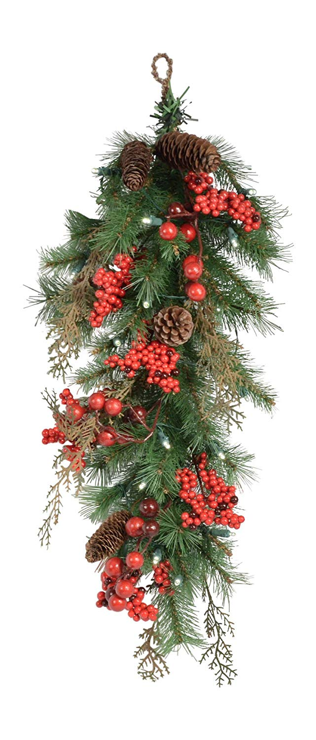 TenWaterloo 25 Inch Lighted Pine Christmas Swag with Pine Cones and Red Berries, Battery Operated with Timer, Front Door Lighted Teardrop Swag