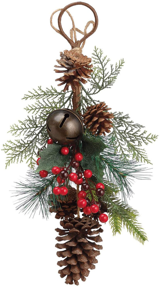 TenWaterloo 16 Inch Christmas Holiday Pine Door Hanger with Bell and Pine Cones