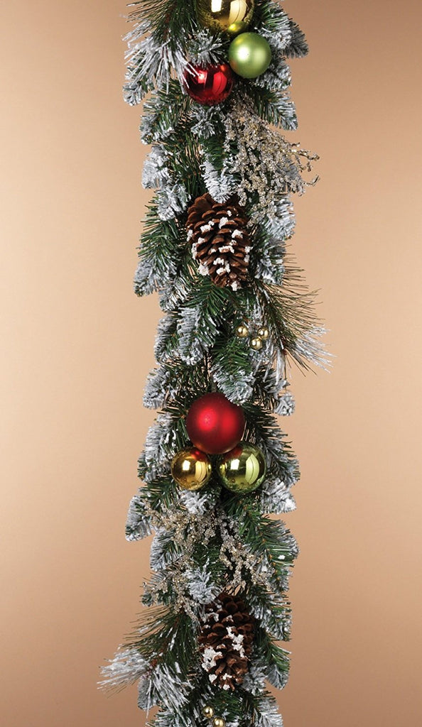 6 Foot Flocked Christmas Pine Garland with Pine Cones, Shatterproof Ball Ornaments and Iced Crystal Sprigs - Artificial Pine Christmas Garland