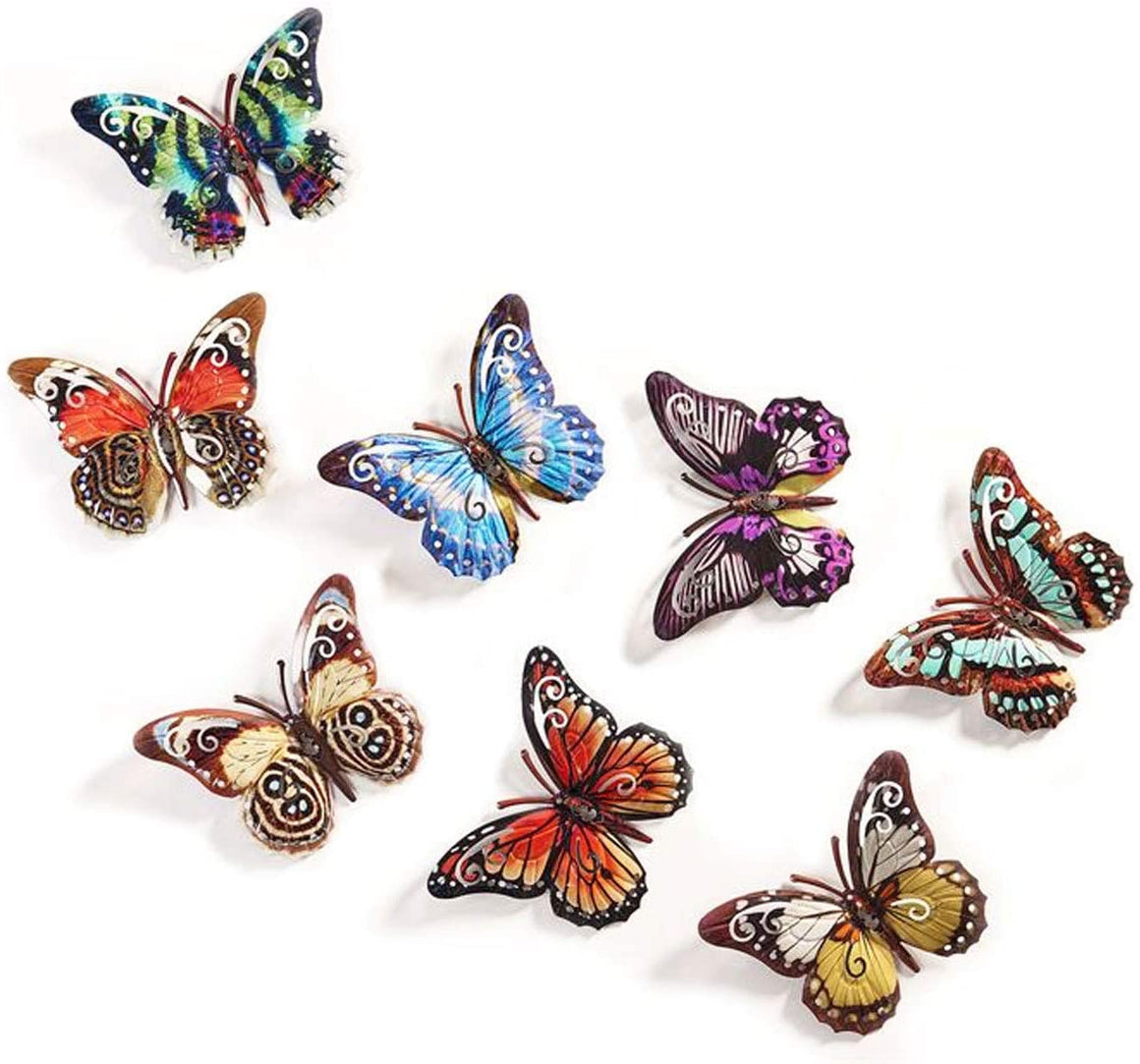 Set of 8 Metal Butterflies Hanging Wall Art, 6.5 Inches, 8 Designs in Colorful Enamel