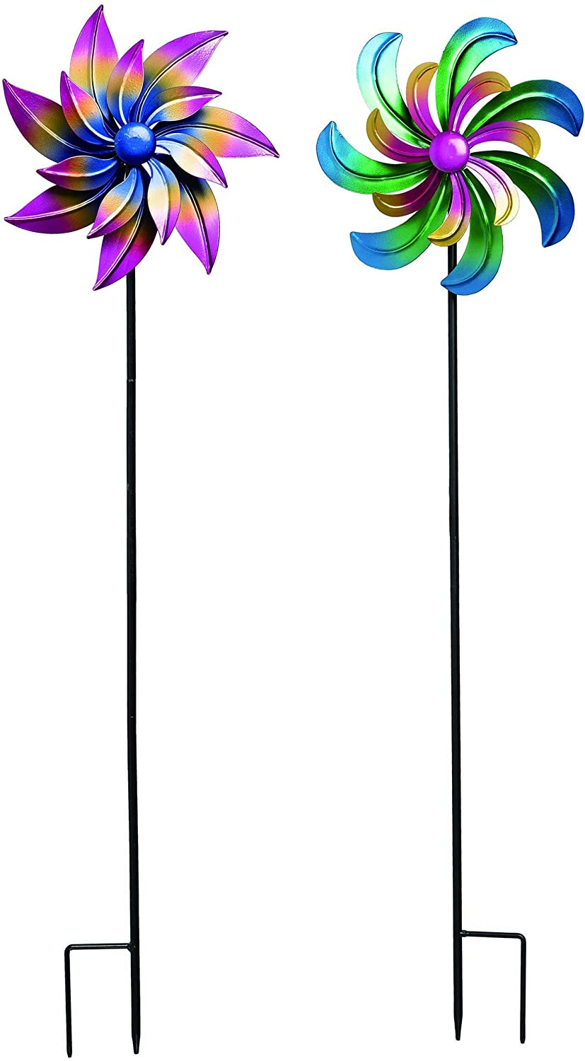 TII Set of 2 Aurora Borealis Metal Wind Spinners, 32 Inches High x 9 Inches Wide, Outdoor Yard Art Sculptures
