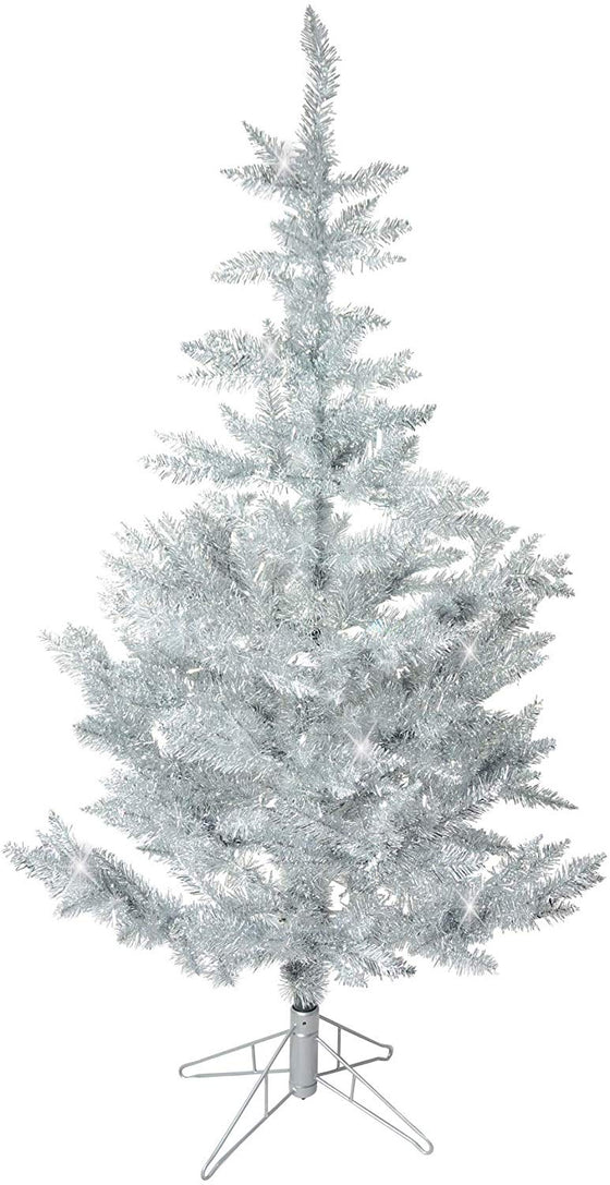 TenWaterloo 5 Foot Tinsel Christmas Tree Antique Silver - 5 Feet High Vintage Tinsel Pine Tree