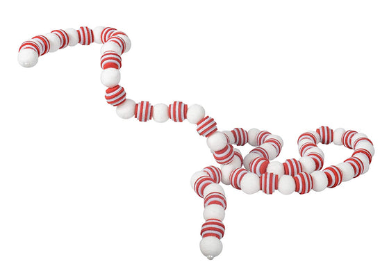 Ten Waterloo 6 Foot Christmas Pom Pom Snowball Garland with Red and White Felted Balls