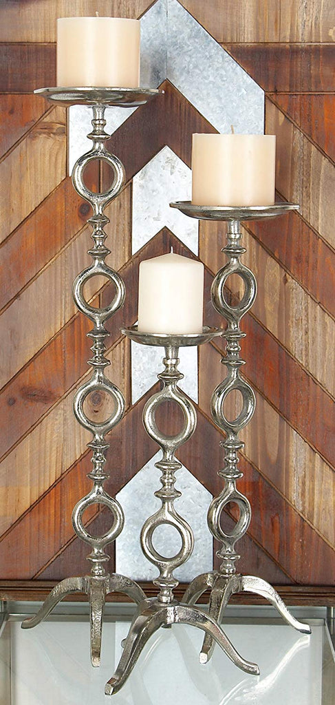 Ten Waterloo Set of 3 Large Cast Metal Pillar Candle Holders, Floor or Tabletop Candlesticks, Silver Leafing Finish, 15 Inches, 21 Inches and 27 Inches High