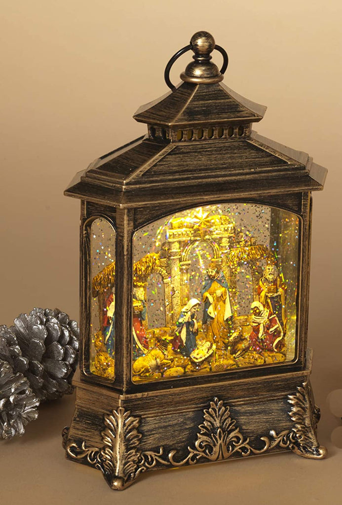Christmas Nativity Scene Musical Lighted Water Lantern,10.5 Inches High, Battery Operated with Timer- 2 Modes, Christmas Snow Globe with Swirling Glittered Snow Effect- Gold/ Black Finish,Blue Accents