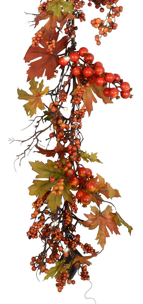 TenWaterloo 60 Inch Pre-Lit LED Fall and Thanksgiving Garland with Lights and Timer - Battery Operated - Artificial Maple Leaf Garland with Berries - 5 Foot Garland