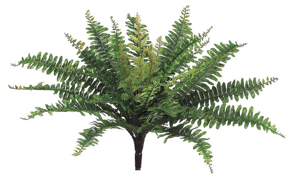 Ten Waterloo 18 Inches Wide Artificial Boston Fern Bush in Green, x32 Stems