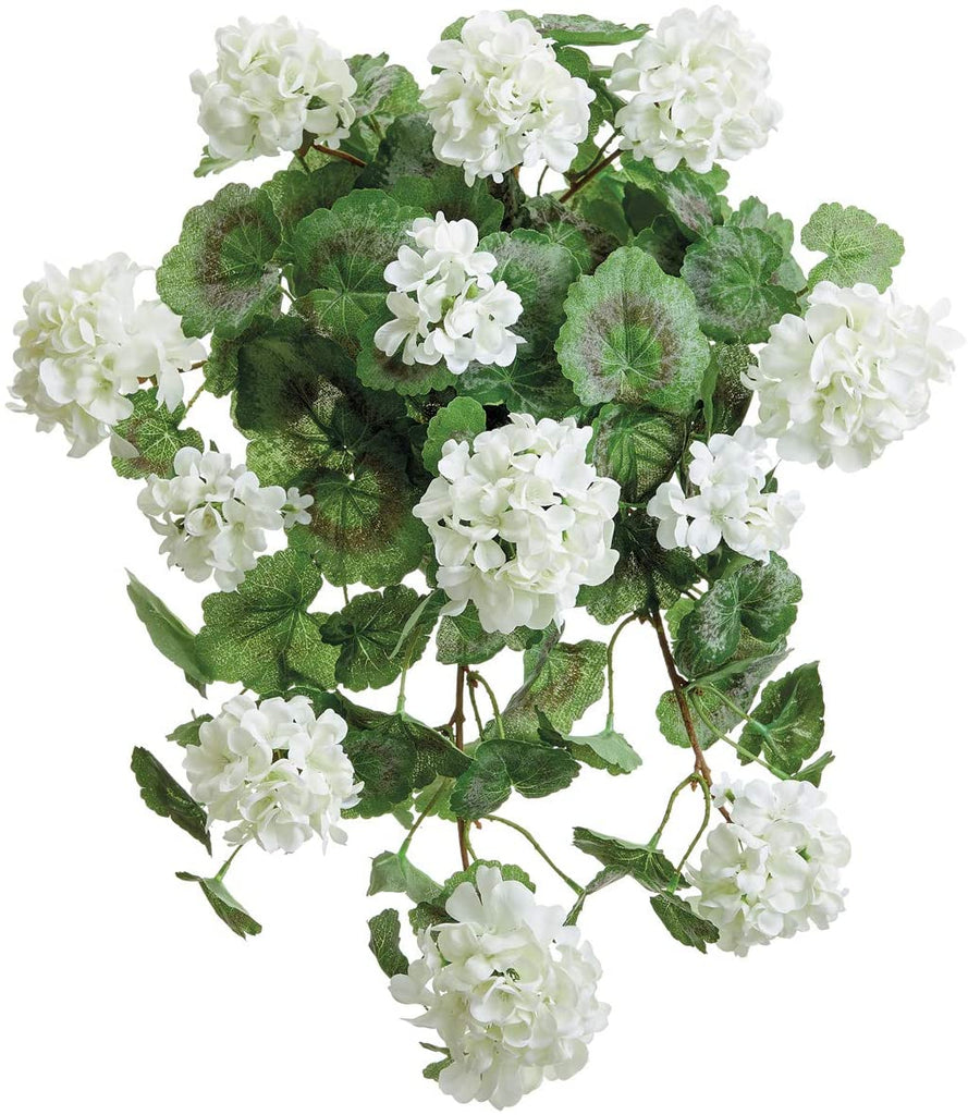 TenWaterloo 22 Inch High UV Protected Artificial White Geranium Hanging Bush, White