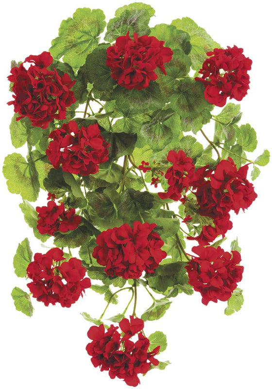 "TenWaterloo 22"" UV Protected Artificial Geranium Hanging Bush, Red"