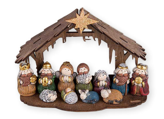 Christmas Nativity Set of 12 - Knitted Look Mini Nativity With Creche