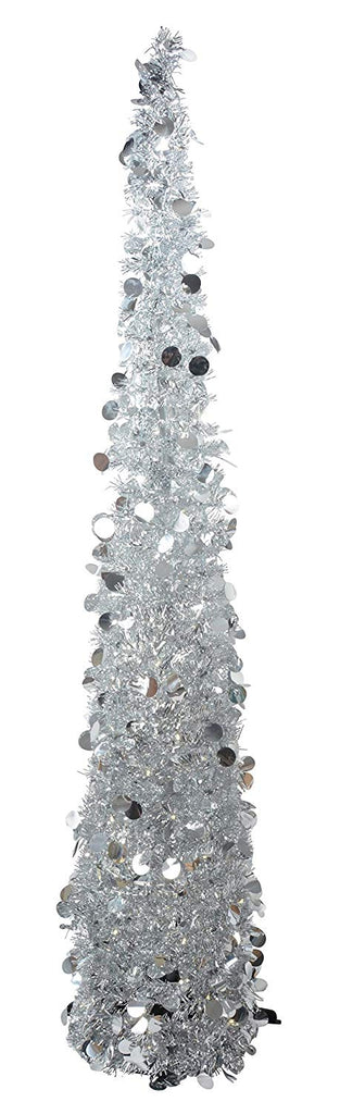 Pop Up Lighted Tinsel Tree - Silver with Lights, Christmas Pull Up Tree 5 Feet High - Battery Operated with Timer