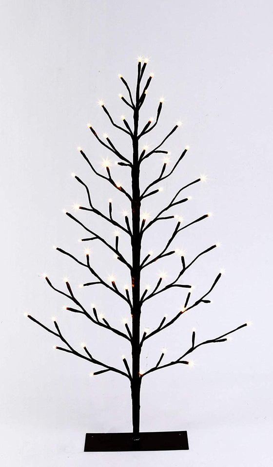 TenWaterloo 3 Foot High LED Lighted Brown Christmas Tree- Indoor/Outdoor Use, Battery Operated with 72 Cool White Lights and Timer Feature