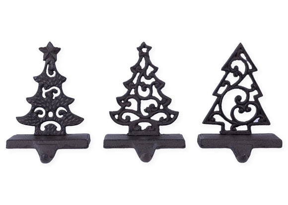 Metal Tree Christmas Stocking Holders - Set of 3 Assorted Styles