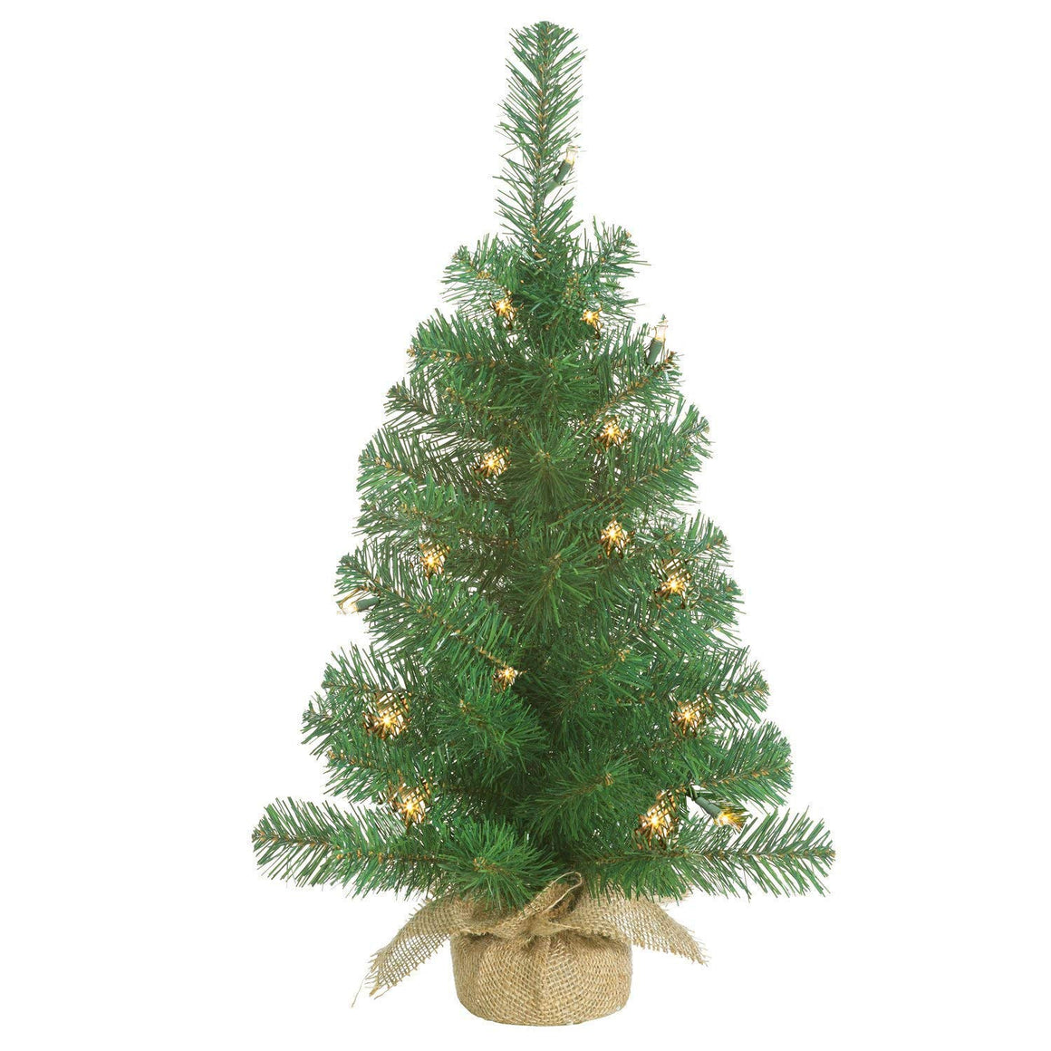 Lighted Christmas Pine Tree 24 Inches High with Battery Operated Timer and Warm White LED Lights - Burlap Wrapped Base- Artificial Pre-Lit Christmas Pine Tree - Indoor / Outdoor - Steady and Flashing