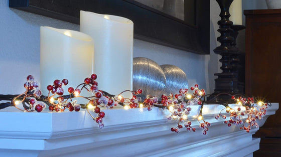 TenWaterloo 6 Foot Lighted Winter Berry Garland, Battery Operated with Timer, Lightly Frosted Snowy Artificial Berries