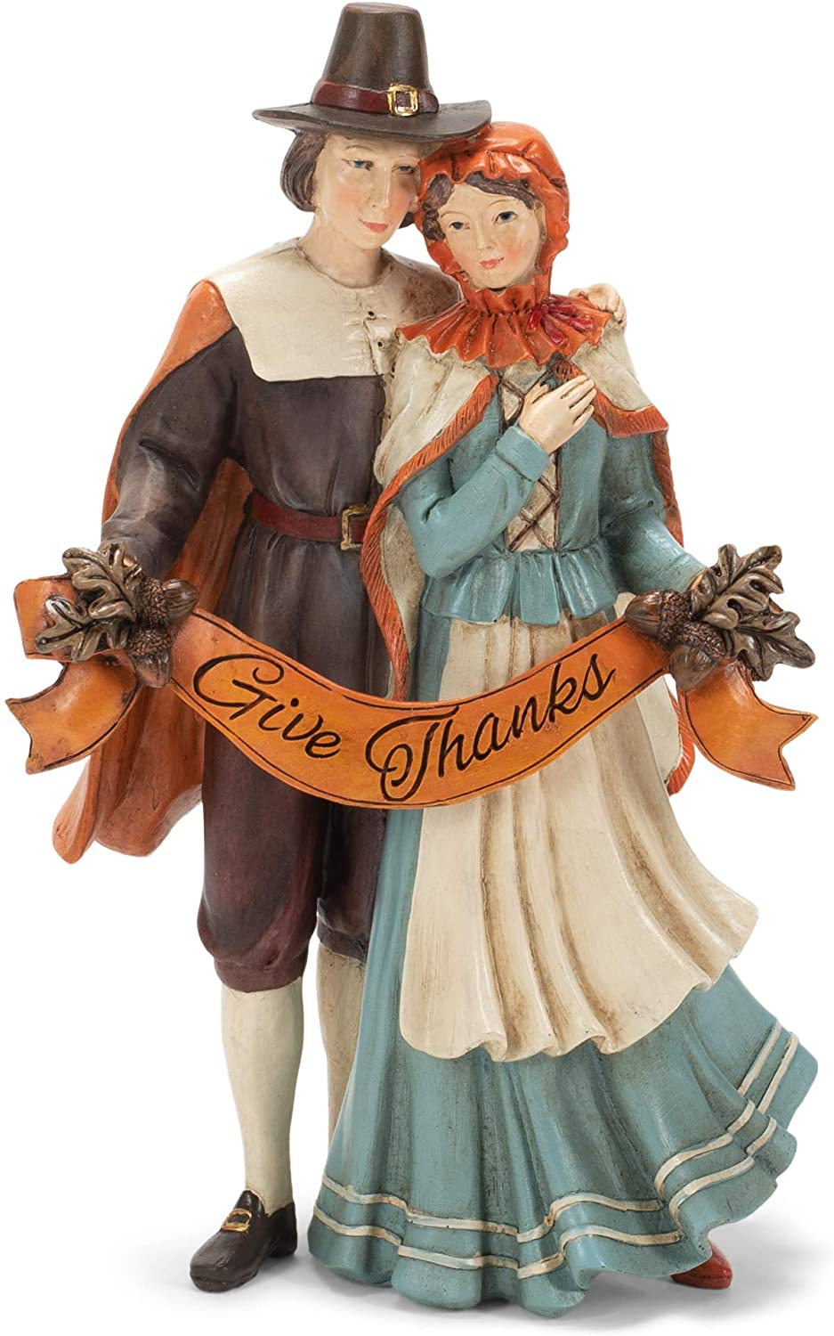 Give Thanks Pilgrim Natural 12 x 8 Resin Stone Thanksgiving Collectible Figurine
