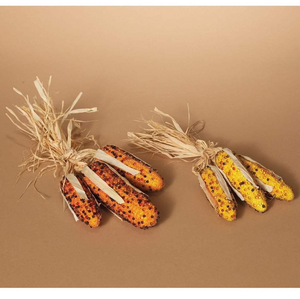 Set of 6 Glass Beaded Decorative Indian Corn - 5.5 Inches High Each - 2 Raffia Tied Sets in Gold and Orange Hues