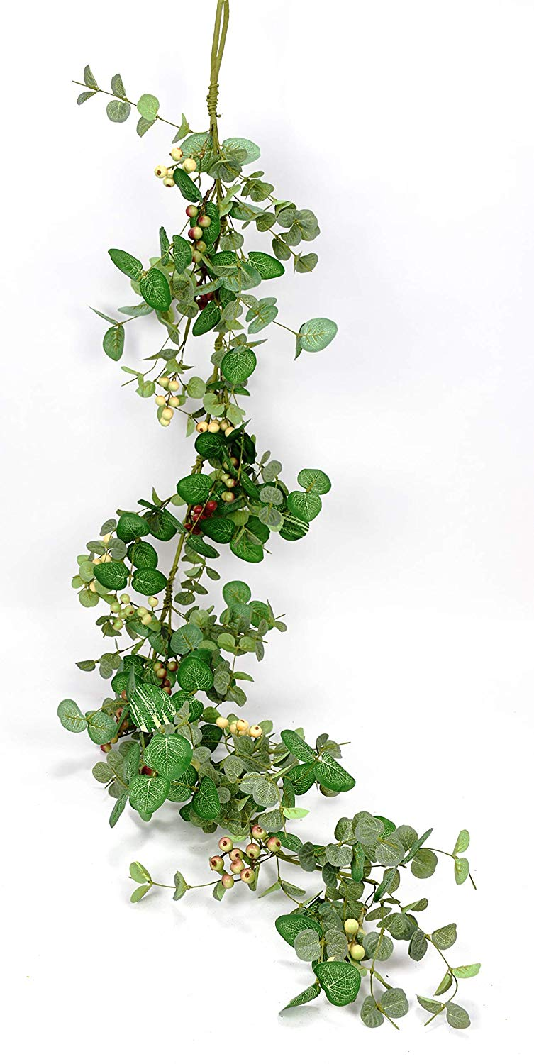 Ten Waterloo 5 Foot Silver Drop Eucalyptus and Berry Spring and Summer Garland, Artificial Leaves, Green, Cream, Deep Red