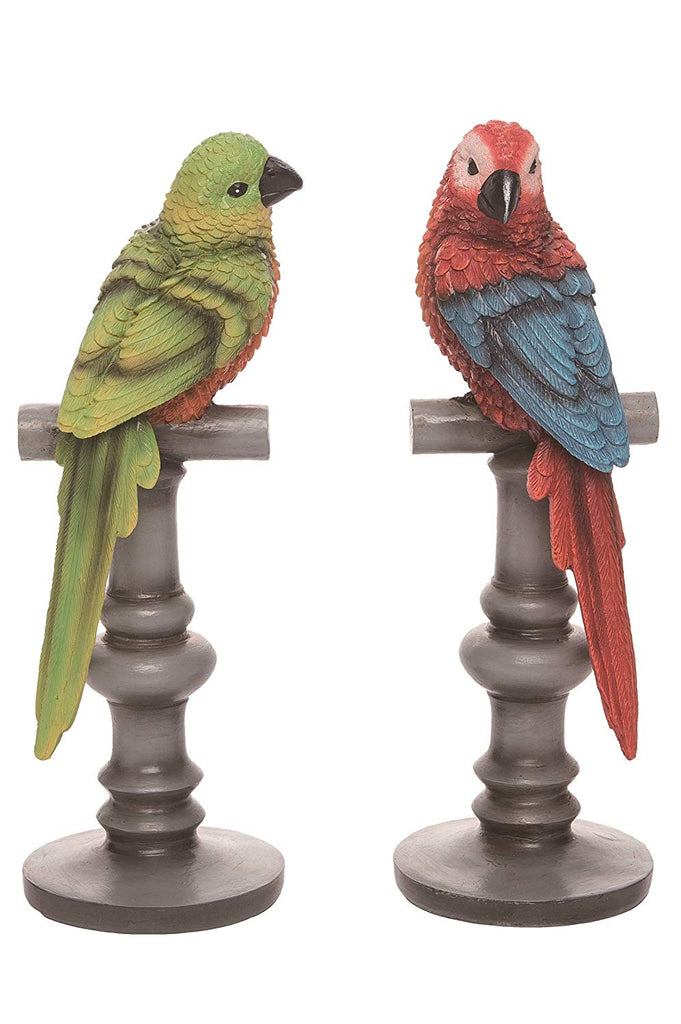 TII Exotic Tropical Bird Statues on Stands, Set of 2 in Sculpted Resin