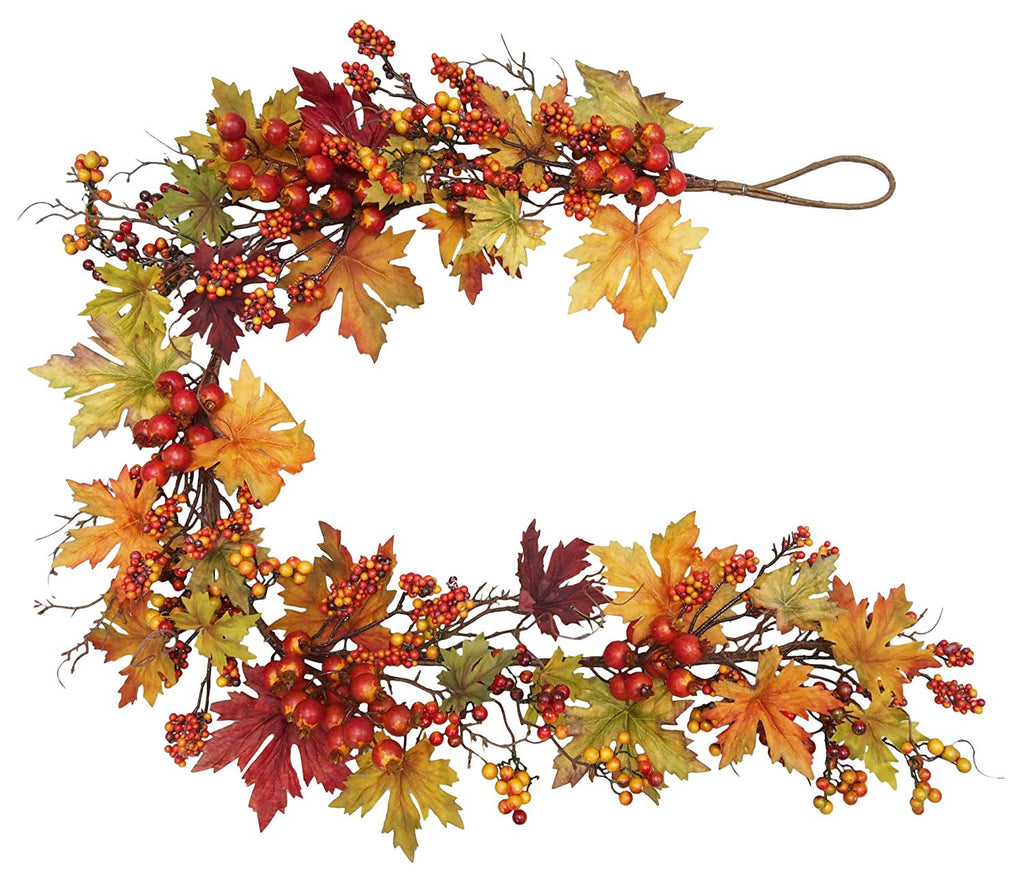 Ten Waterloo 60 Inch Fall and Thanksgiving Garland - Artificial Maple Leaf Garland with Berries - 5 Foot Garland