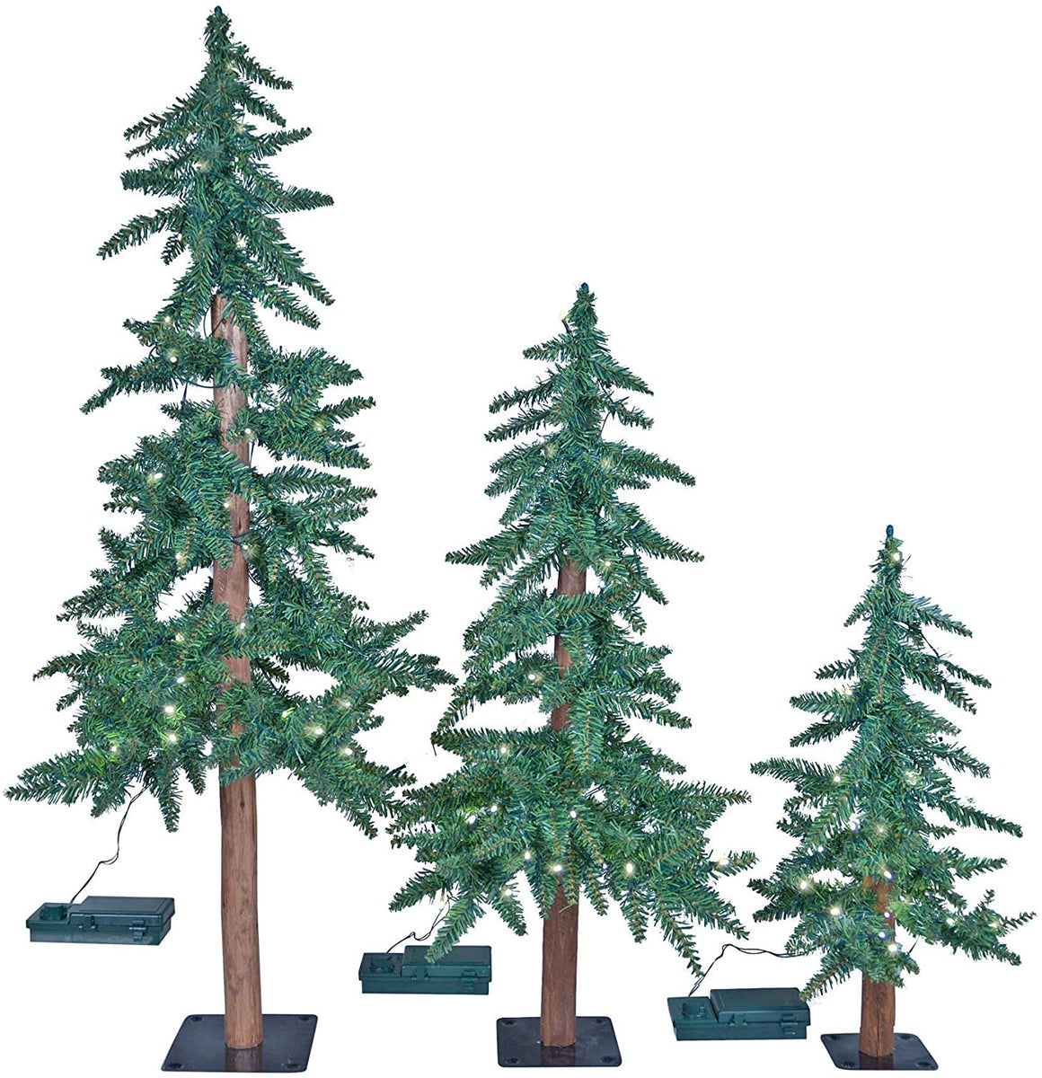 Set of 3 Lighted Christmas Artificial Noble Fir Pine Trees with Wood Trunks- 26 Inches, 37 Inches, 50 Inches High Artificial Alpine Trees – LED Lights Battery Operated with Timers and Function Modes