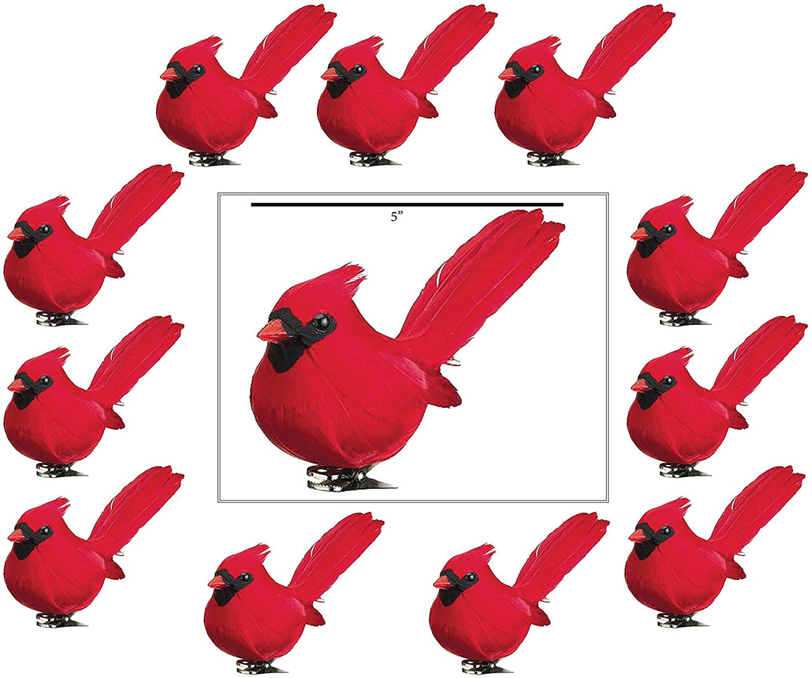TenWaterloo Set of 12 Red Cardinal Christmas Birds with Clips, 5 Inches with Real Feathers