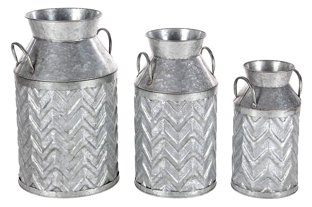 Ten Waterloo Set of 3 Galvanized Metal Decorative Milk Cans- 13, 17 and 18 Inches High