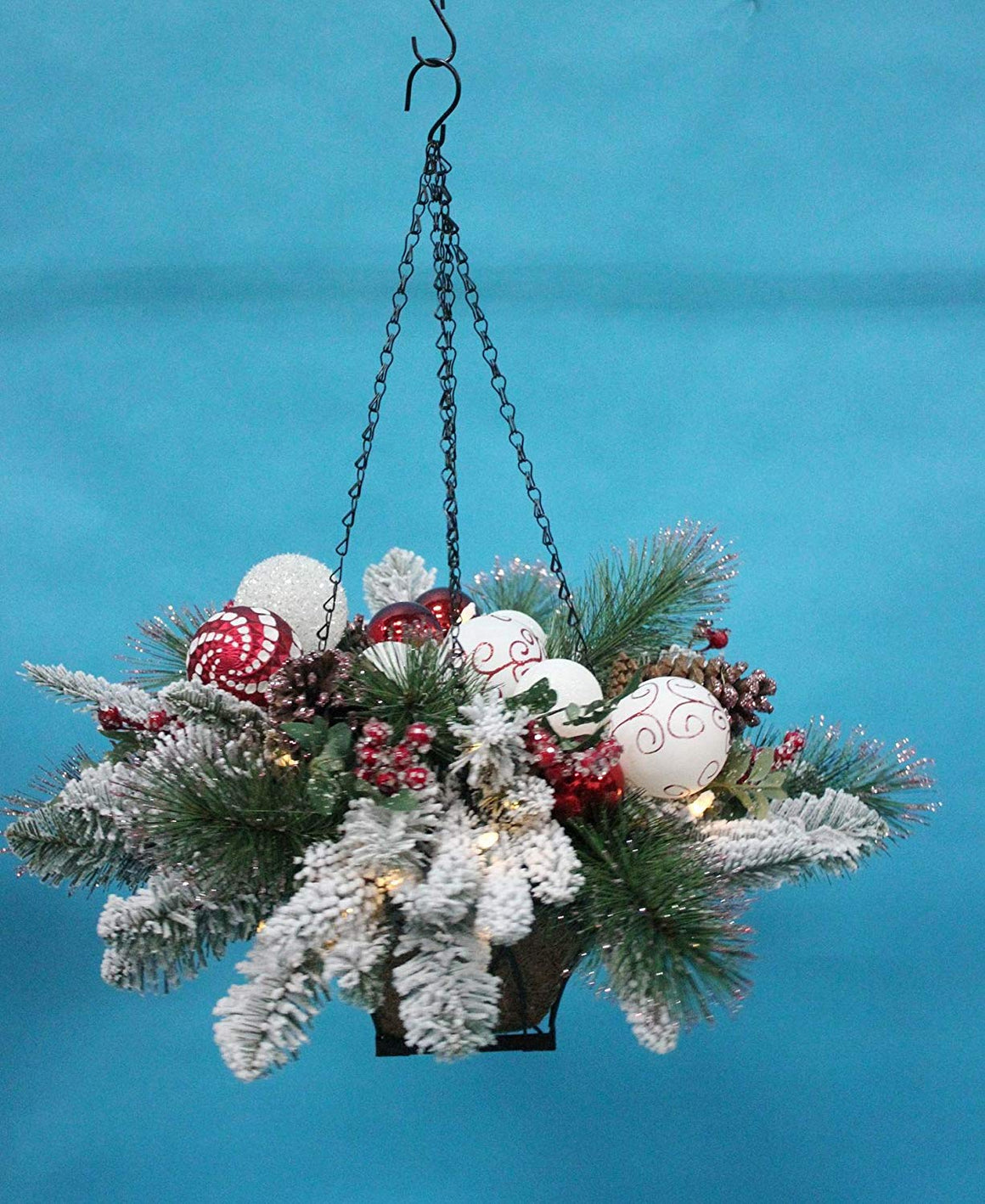 TenWaterloo Christmas Wonderful Winter Collection Snow Flocked Lighted Hanging Basket, 25 Inches x 12 Inches, with Ornaments and Battery Operated Timer, Metal Basket