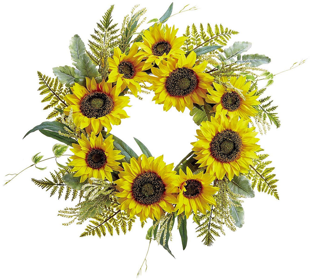 Ten Waterloo 24 Inch Sunflower and Green Floral Wreath on Hand Tied Twig Base, Artificial Floral