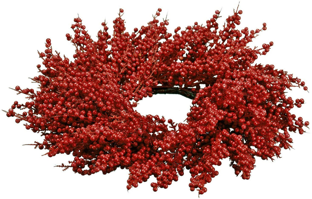 TenWaterloo 12 Inch Red Berry Christmas Candle Ring, Pillar Candle Holder with Faux Red Berries