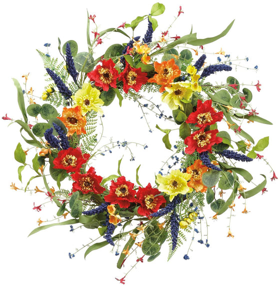 22 Inch Spring and Summer Floral Wreath on a Hand Tied Vine Base with Blossom Accents - Artificial Floral in Green, Orange, Yellow, Red and Purple