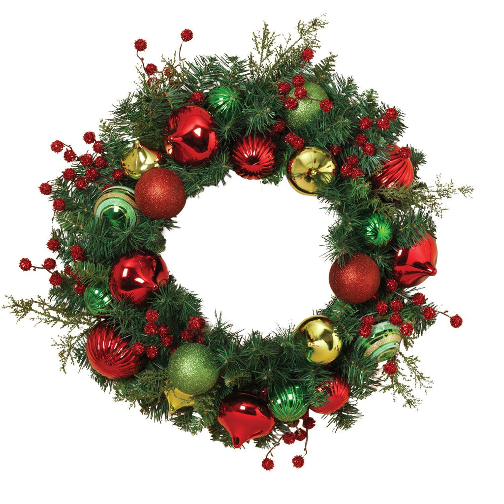 Gerson 24 Inches Holiday Pine Ornament Wreath - Artificial Pine Wreath