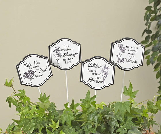 Set of 4 White Metal Garden Stakes 10.5 Inches high x 4 Inches Wide, Garden Sentiments