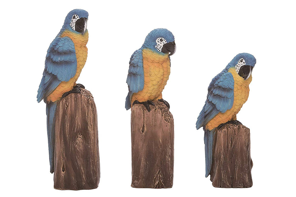 TII Set of 3 Tropical Bird Figurines - Blue and Gold Macaw Parrots 10, 9 and 8 Inches High, Sculpted Resin