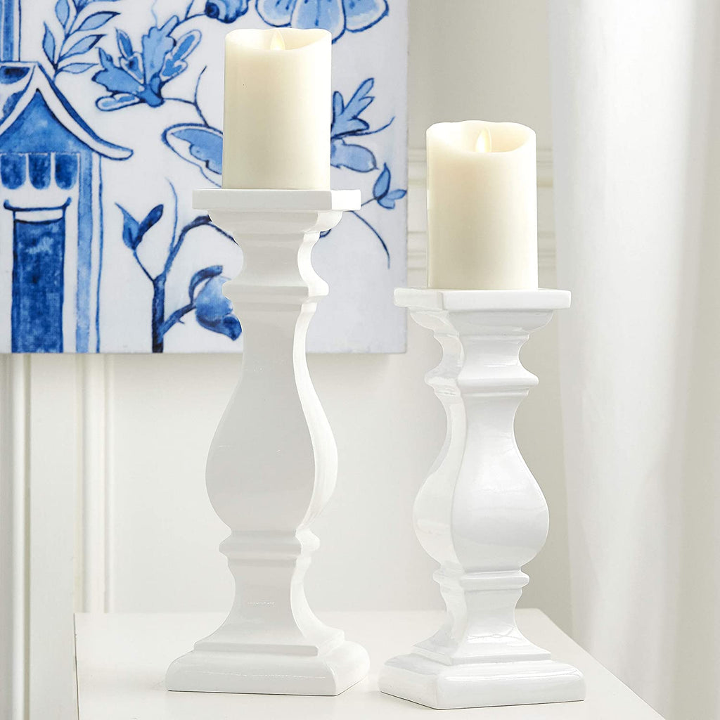 Raz Set of 2 Tall White Pillar Candle Holders 13.5 Inches and 11 Inches High, Gloss White Polyresin