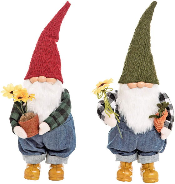 Set of 2 Charming Plush Garden Gnomes in Denim and Plaid Holding Flowers and Vegetables, 14 Inches High