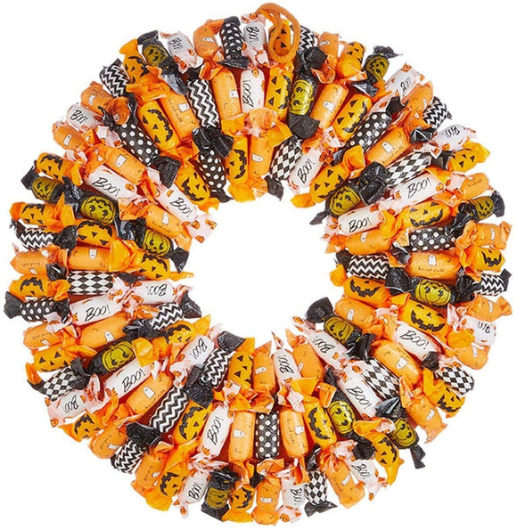 TenWaterloo 19 Inch Halloween Candy Wreath, Faux Halloween Treats Dusted with a Light Glitter, Front Door Wreath