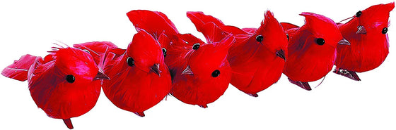 Set of 6 Red Cardinal Birds With Clips 4 Inch x 2 Inch - Christmas Tree Decor and Ornament
