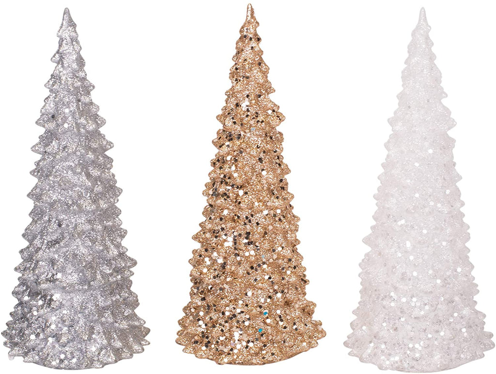 Light Up Tree Metallic Glitter 10 x 4 Acrylic Christmas Holiday Figurines Set of 3