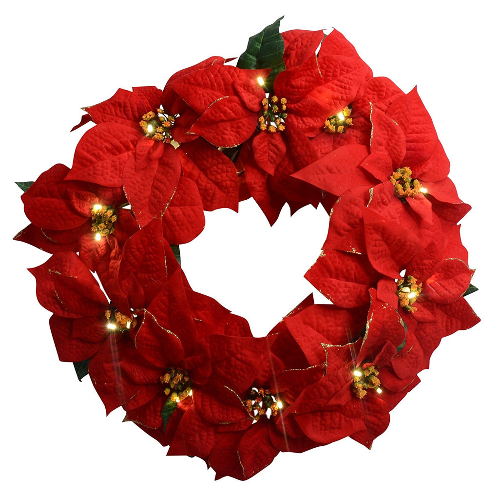 23 Inch Red Poinsettia Lighted Christmas Wreath - Golden Tipped, Battery Operated With Timer Artificial Poinsettia Wreath